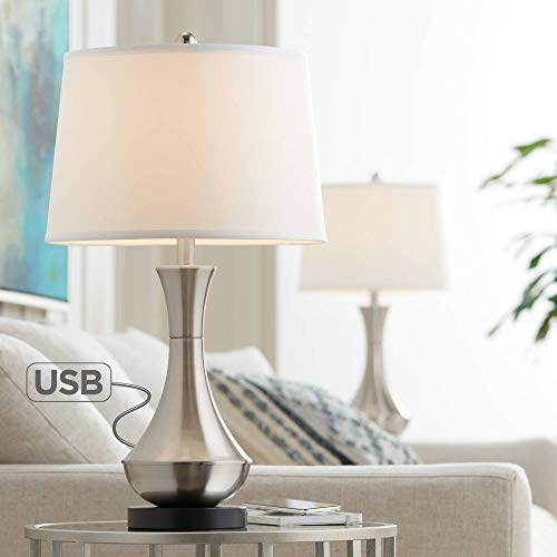 Simon Modern Table Lamps Set of 2 with Hotel Style USB Charging Port Brushed Steel Empire Shade for Living Room Family Bedroom Bedside – 360 Lighting