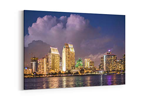 (Waterfront City Light and Water in Coronado United States - Canvas Wall Art Gallery Wrapped 18