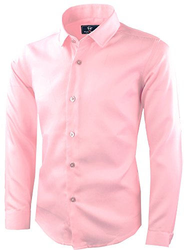Black n Bianco Signature Boyss Sateen Long Sleeve Dress Shirt (10, Light Pink)