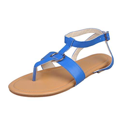 (Women Roman Buckle Sandals, NDGDA Flat Metal Shoes Flip Flops Slippers Beach Sandals Clearance Sale)