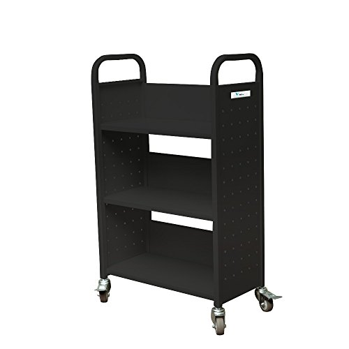 TARAXACUM Movable Book Truck Single Sided Heavy Duty Shelf Car K-D Packing Structure Bookcase, 32''L x 14''W x 46''H, Black