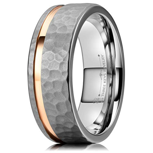 THREE KEYS JEWELRY 8mm Hammered Facet Matte Titanium Wedding Ring with Rose Gold Stripe Wedding Band Size 9