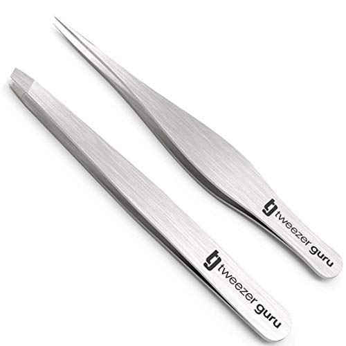 Tweezers Set - Tweezer Guru Stainless Steel Slant Tip and Pointed Eyebrow Tweezer Set - Flawless Precision for Facial Hair, Ingrown Hair, Eyebrows, Splint, Blackhead and Tick Remover (Silver)