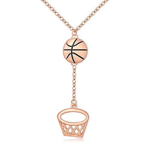 MANZHEN Personalized Gold Silver Basketball Hoop Sports Charm Pendant Necklace Jewelry for Women(rose gold) (Ladies Personalized Basketball)