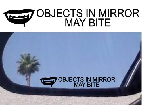 (2) Objects in Mirror May Bite - Decals Stickers - For Fans of Twilight Vampire Diaries True Blood Dark Shadows