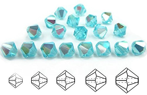 3mm Aqua AB coated, Czech MC Bicone Beads (Rondell, Diamond Shape Crystals), 2.5 gross = 360 pieces
