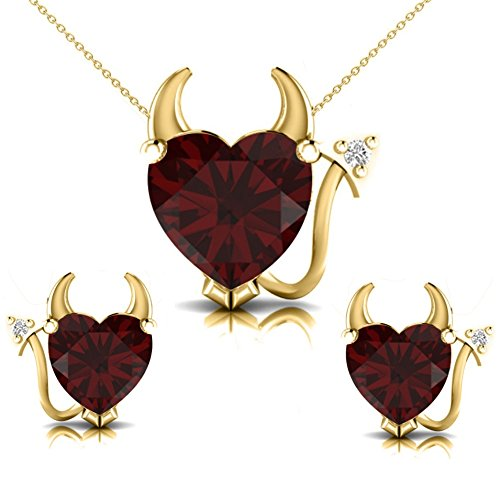 Pretty Jewellery Garnet & Natural Diamond Accents in 14K Yellow Gold Devil Heart Necklace Set