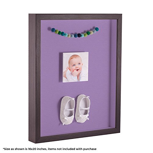 ArtToFrames 8 x 10 Inch Shadow Box Picture Frame, with a Melinga Oak Gray 1'' Shadowbox Frame and Lavender Mist Mat