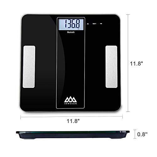 SENSSUN Bluetooth Medidor Inteligente de Masa Corporal,Báscula Digital de baño de Peso,BMI Báscula de Peso, Analizador de Composición de Cuerpo con IOS y ...