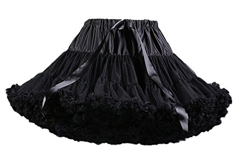 FOLOBE Adult Luxurious Soft Chiffon Petticoat Tulle Tutu Skirt Women's Tutu Costume Petticoat Ballet Dance Multi-layer Puffy Skirt,Small / Medium,Black ()