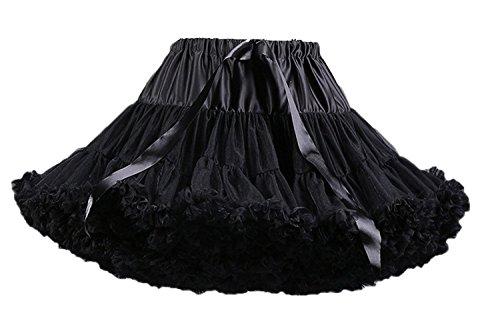 FOLOBE Adult Luxurious Soft Chiffon Petticoat Tulle Tutu Skirt Women's Tutu Costume Petticoat Ballet Dance Multi-layer Puffy Skirt,Small / Medium,Black