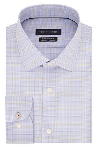Tommy Hilfiger Men's Dress Shirt Slim Fit Stretch Check, Sunburst, 18.5