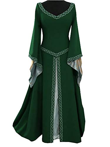 (Women Medieval Dress Lace up Vintage Floor Length Cosplay Retro Long Dress Plus Size S-5XL Green)