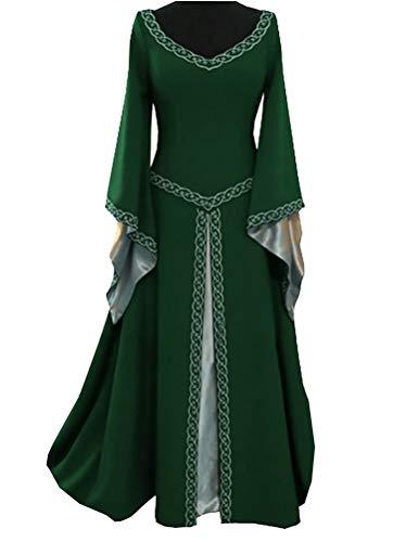 Younsuer Women Medieval Dress Lace up Vintage Floor Length Cosplay Retro Long Dress Plus Size S-5XL