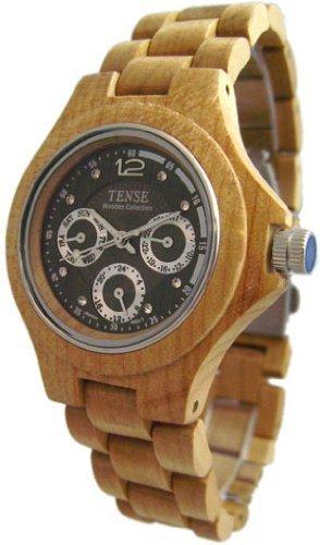Tense Wood Watch Maple Triple Dial Round Watch Mens G4300M-W