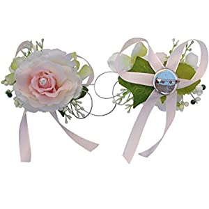 Arlai Wedding Bridegroom Bride Corsage, Cream Color Embellishment Pink Rose, Pack of 2 85