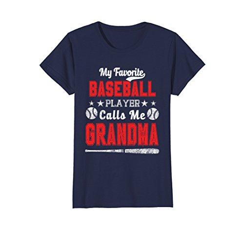 - Womens My Favorite Baseball Player Calls me Grandma Shirt Medium Navy