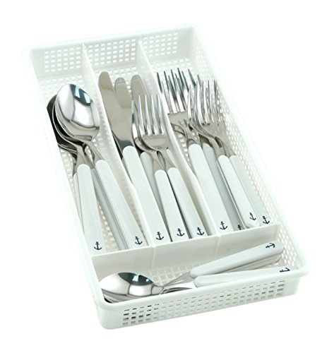 Galleyware White 30 Piece Anchor Flatware, Set Plus Storage Tray (Service For 6)