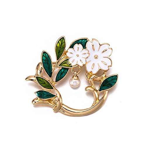 JczR.Y Fashion Green Enamel Round Olive Branch Brooch Pin Leaves Flower Pearl Broach Women Dress Accessories Jewelry