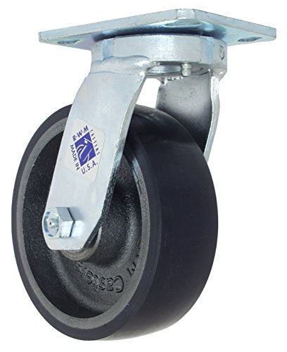 RWM Casters 47 Series Plate Caster, Swivel, Kingpinless, Urethane on Iron Wheel, Roller Bearing, 1230 lbs Capacity, 6
