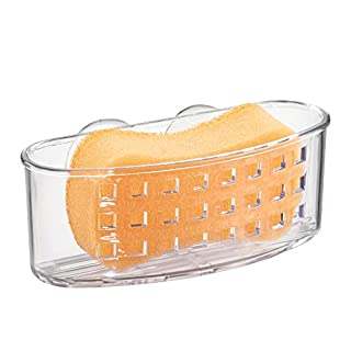 "iDesign Kitchen Sink Suction Holder for Sponges, Scrubbers, Soap, Scouring Pads, Bathroom Shower Organizer, 6.5"" x 2.5"" x 2.5"", Clear"
