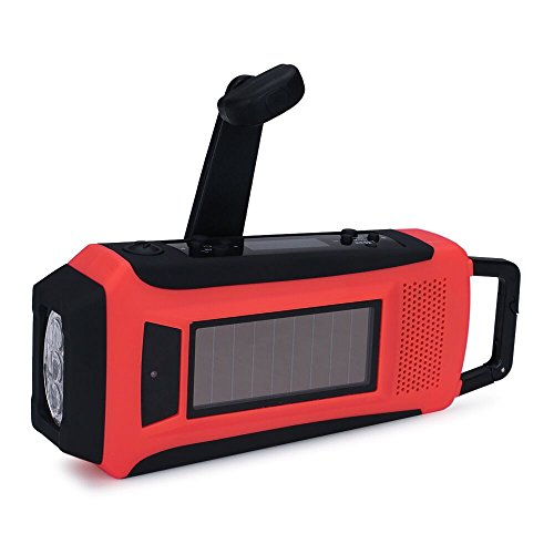 iRonsnow IS-092 Dynamo Emergency Solar Hand Crank Self Powered NOAA/AM/FM Weather Radio, with 1000mAh Power Bank, Charge, Flashlight, LCD Display (Red) by iRonsnow