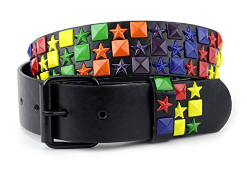 NYfashion101 Pyramid Stud Rainbow Star Removable Roller Buckle Single Hole Belt