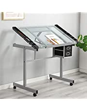 DlandHome Glass Drafting Table Adjustable Drawing Table Craft Station Center With 2 Storage Drawers, DCA-UTDT1033
