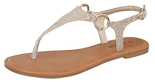 Top Moda Break-10 Womens T-Strap Buckle Flats Sandals, Champagne 6.5 by Top Moda