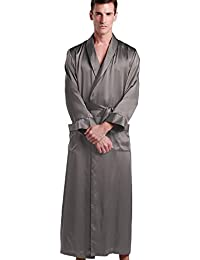 Mens Pure Silk Robe 22 Momme Bath Robes Luxury Contra Full Length 100 Natural Pure Silk