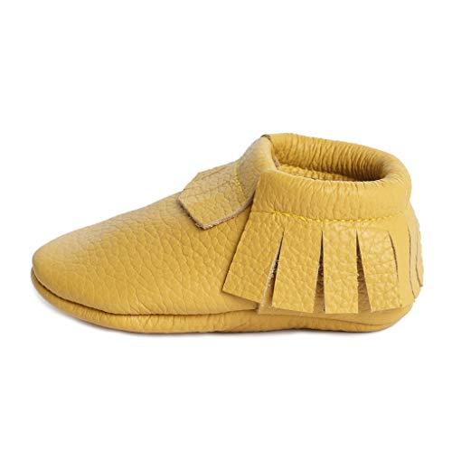 Little bee mocs ( Italian Leather Baby Moccasins Soft Sole Baby Shoes Newborns, Infants & Toddlers - Handmade Genuine Leather Baby Moccasins Fringes Boys & Girls Yellow