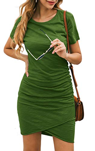BTFBM Women's 2019 Casual Crew Neck Ruched Stretchy Bodycon T Shirt Short Mini Dress (104Green, X-Large) from BTFBM