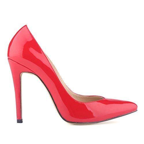 Zapatos delgados - TOOGOO(R)zapatos de tacon alto de patente de PU de estilo de trabajo zapatos de corte surtidor para mujer rosado 40 NebWPpfhC4