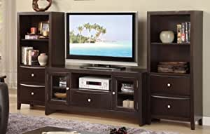 entertainment center tv stand with 2 open shelves and 1 drawer and 2 media shelves. Black Bedroom Furniture Sets. Home Design Ideas