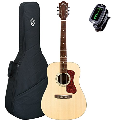 Guild D-240E Dreadnought Archback Acoustic-Electric Guitar, Natural, with Gig Bag and Tuner