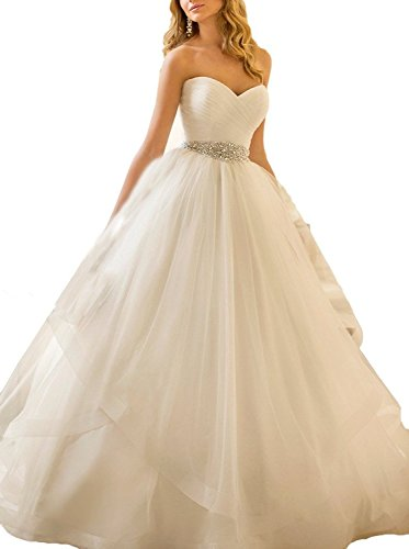 SMJ Women's Sweetheart Ball Gown Beading Sash Ruffles Tulle Wedding Dress Bridal Gown by SMJ