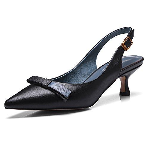 Sandales Pour Femmes Minivog Cuir Verni Bout Pointu Talons Hauts Pompes Noires