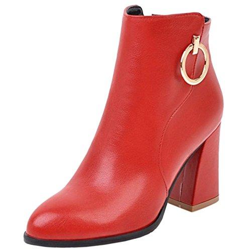 RAZAMAZA Women Fashion British Style Chunky Block Heel Ankle Boot Red