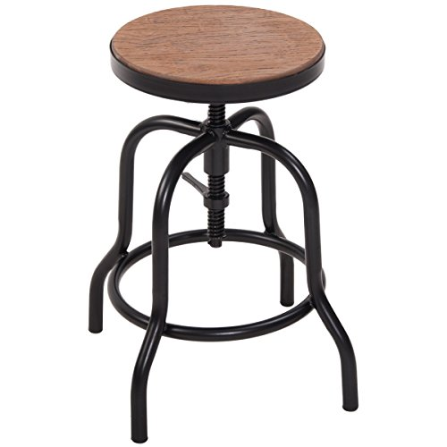 Harper&Bright Designs Adjustable Vintage Counter Height Bar Stool with Metal Frame and Wood Panel Seat Bamboo Swivel Bar Stool