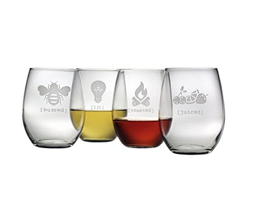 Cheap Fun Tipsy Collection Sand Etched Stemless Wine Glasses (Set of 4) Juiced Lit Buzzed Toasted Cherries, Lemon, Strawberry, Bee, Lightbulb, Wood Fire Flame