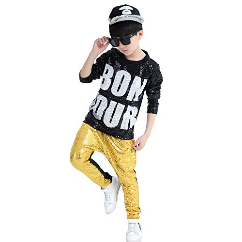 Unisex Sequin Dance Costume Child Silver Black Hip