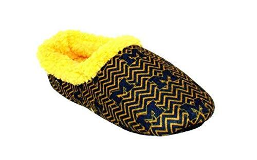 MIC11-3 - Michigan Wolverines - Large - Happy Feet Mens and Womens Chevron Slip On ()
