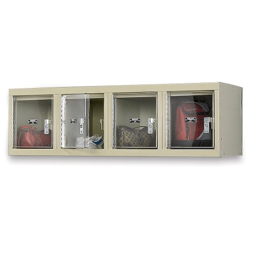 "Hallowell Safety View Plus 4-Wide Wall-Mount Lockers - 12X18x12"" Openings - Set-Up - Parchment"