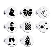 FMY 8Pcs Wine Glass Stencil Christmas Cake Stencil for Cookie Decorative Stencils ST-851 , rice white