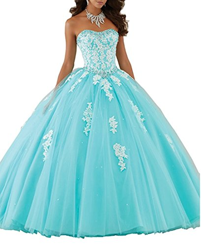 - Beilite Women's Sweetheart Prom Long Dresses Quinceanera Gown with Crystal Sequins Ice Blue 16