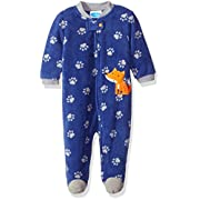 BON BEBE Baby Boys' Microfleece Zip Front Coverall with Applique, Cute Fox Blue, 3-6 Months