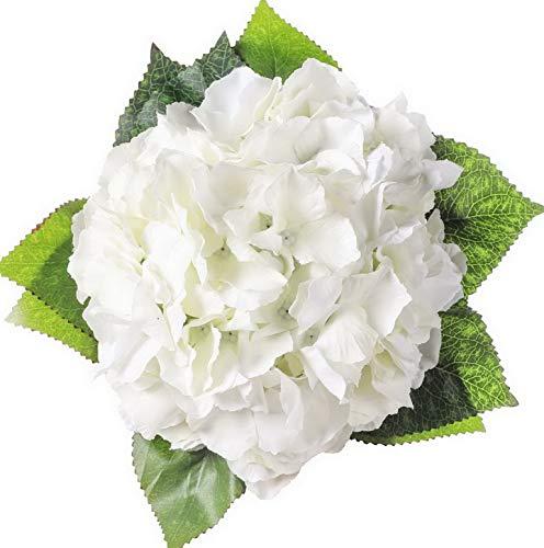 Kaputar 5 Big Heads Artificial Silk Hydrangea Bouquet Fake Flowers Arrangement (Cream) | Model WDDNG -532