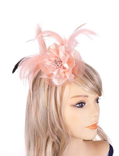Fascinator Headband Women Mesh Feather Flower Hair Clip Brooch Corsage Girls Wedding Tea Party Derby Cocktail Headwear Hairpin Head Decoration(Coral)