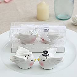 OnePlace Gifts 1 Set Blissful Wedding Salt & Pepper, Bride and Groom Mini Ceramic Shakers & Cake Topper