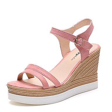 RUGAI-UE Moda de Verano Mujer sandalias casuales zapatos de tacones PU Confort,Negro,35 Blushing Pink